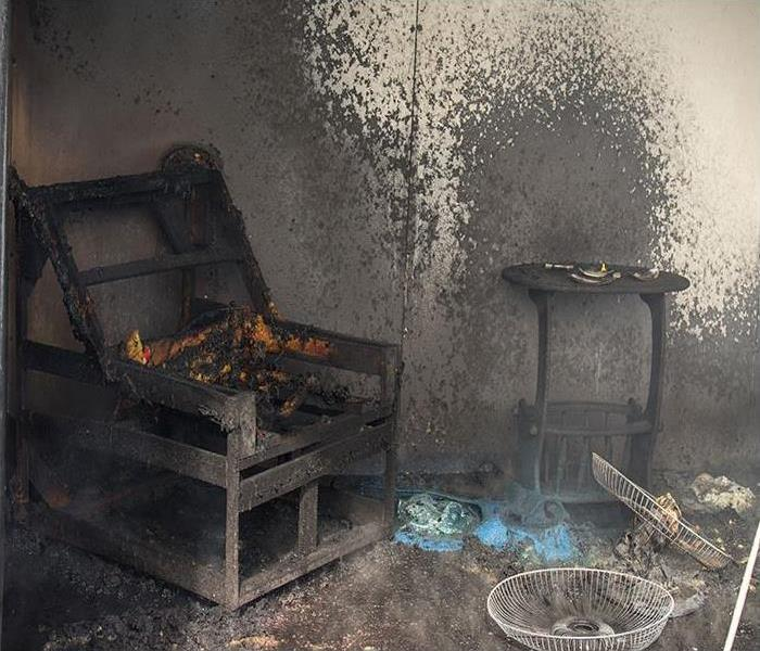furniture in room damaged after a fire