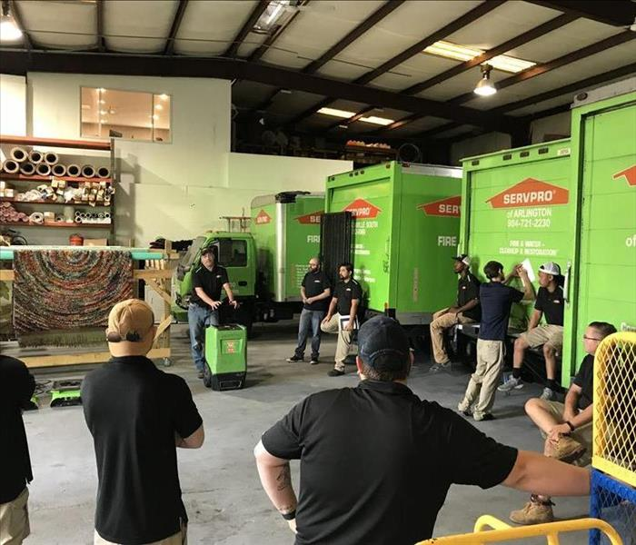 SERVPRO team at team instruction class at warehouse