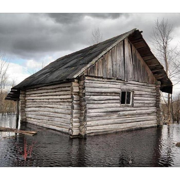 log cabin surrounded by water